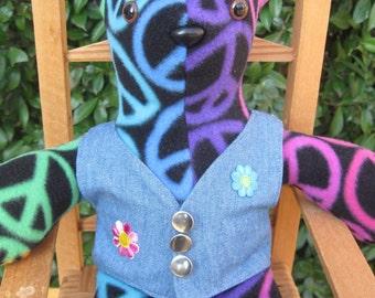 Peace bear, Teddy bear, bear wearing clothes, fleece bear, blue and purple, vest