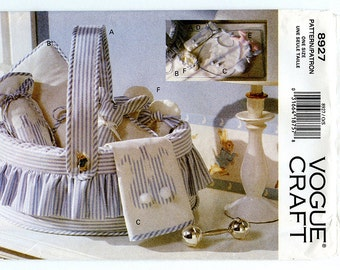 Vogue Craft 8927 Baby Gift Accessories Sewing Pattern for Basket, Mat, Bib, Bottle Cover, Bunny and Slippers