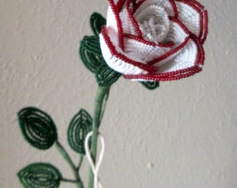 White Rose with Red Trim - Valentine's Day- French Beaded Flowers