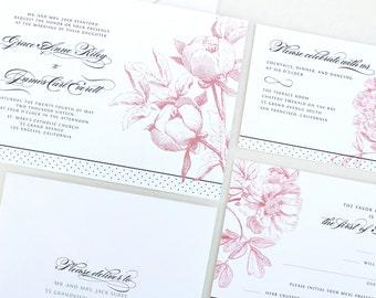 Romantic Peony Wedding Invitations, Blush and Gray Invitation, Peonies, Elegant Wedding Invitation, Band, Custom Monogram, Linen Invite