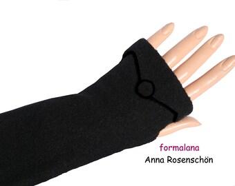 black mittens arm cuffs wrist warmers wool  fingerless gloves  arm warmers
