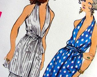 UNCUT * Vintage 1960's Vogue  Pattern 7555  - Misses'  Wrapped  Halter Dress and  Flared Pants * size 10 *  bust 32.5