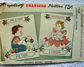 UNCUT * 1948 Vintage Simplicity Transfer Pattern 7426 -- Embroidery Samplers Transfers for Children's Birthdays * Not a Copy
