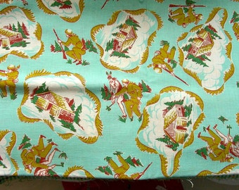 Vintage Feedsack Cotton Fabric - NOVELTY Feed sack: Davy Crockett, Indians, Log Cabins  - 38 x 42
