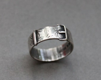 1880s Victorian Sterling Buckle Ring / British Betrothal Ring / Antique Wedding Band / G. Loveridge & Company