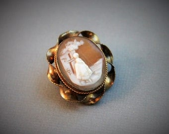 Victorian Carved Shell Cameo Lace Pin Brooch / Rebecca at the Well / Antique Religious Jewelry