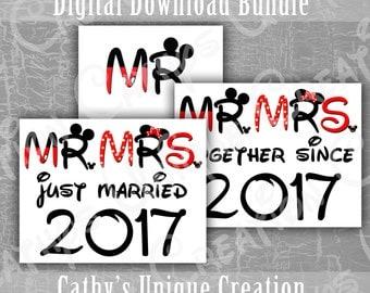 Mr and Mrs Just Married Together Since 2017 Couples Shirts, Walt Disney World, Disneyland, Fairytale Wedding, Honeymoon, Iron On Printable