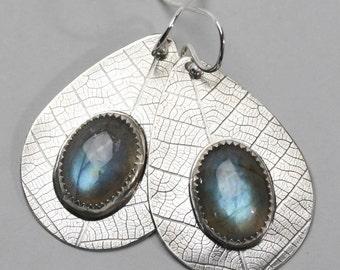 Sterling Silver and Labradorite Earrings - Teardrop Earrings with Leaf Texture and Labradorite Stones - Botanical Labradorite Jewelry
