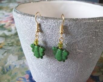 Green Jasper Butterfly Earrings