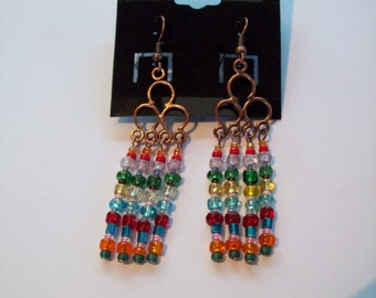 Copper Rainbow Chandelier Earrings