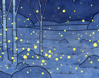 Fireflies Art Print 5x7