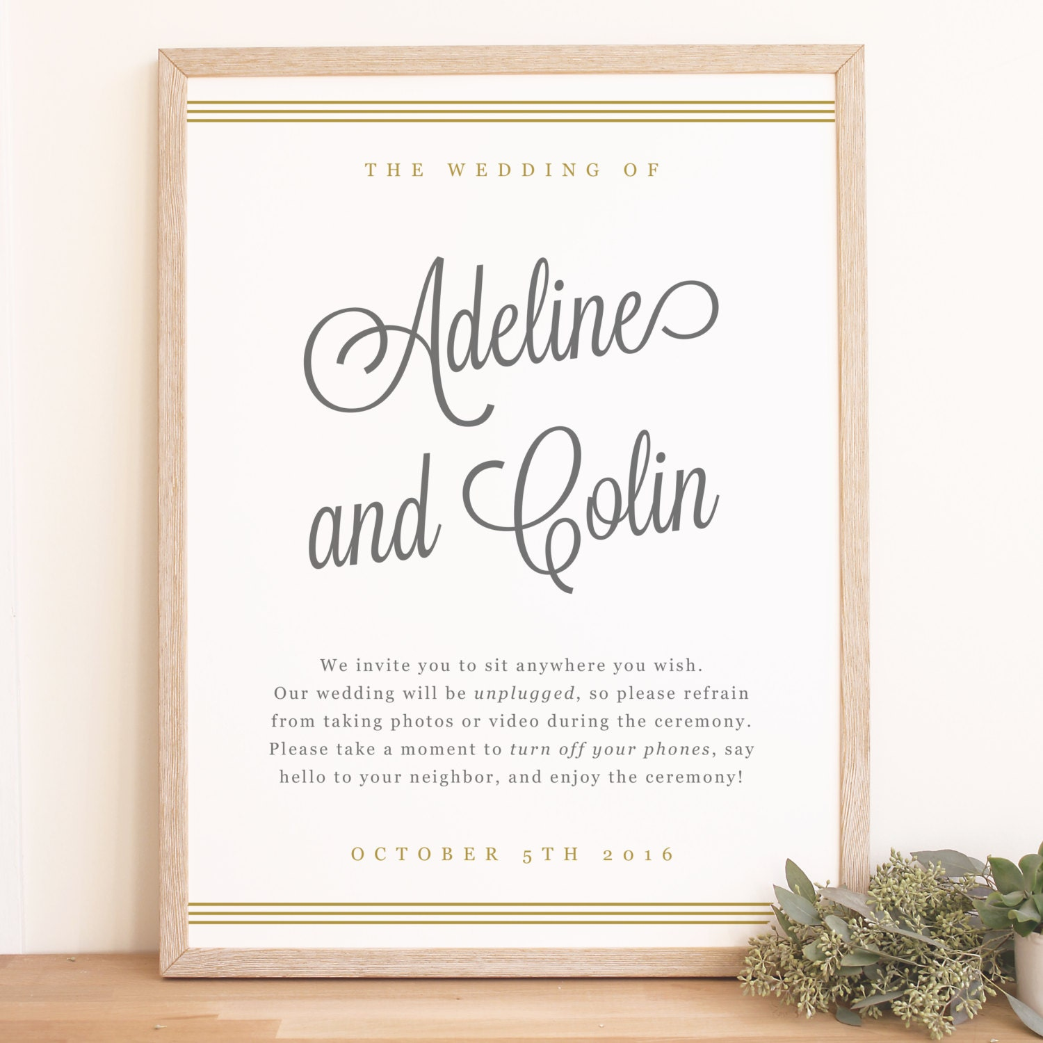 printable custom wedding welcome sign template gold script word or pages mac or pc large. Black Bedroom Furniture Sets. Home Design Ideas