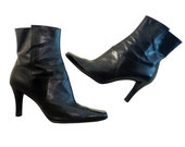 High Heel Ankle Boots // Women Size 9M  // Black Sexy Euro Style // Nine West Leather // Retro High Fashion Rocker