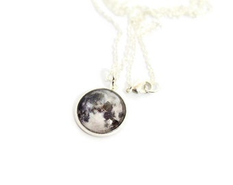Full Moon Necklace, Glass Dome Necklace, Geek Necklace, Space Necklace - Dainty Glass Dome Necklace, Space Art Jewelry, Moon Pendant