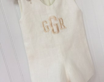 Matching Brother  Monogrammed Personalized Ivory or White Linen Jon Jon  9m to 4 Juvie Moon Designs