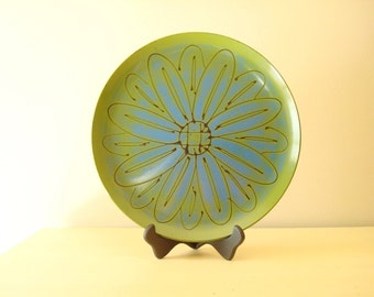 Mod vintage lacquer tray, avocado green, blue and black, pop-art flower petals, large pop-art platter