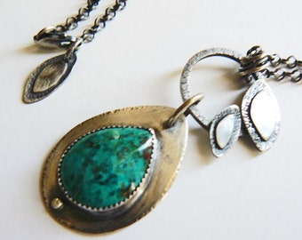 On sale 20 % off - Green chrysocolla pendant necklace - silver teardrop  - forest leaves - rustic  - artisan crafted - one of a kind