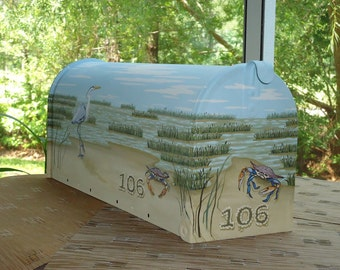 Hand Painted Estuary, Blue Heron, River and Crab Mailbox, Housewarming Gift