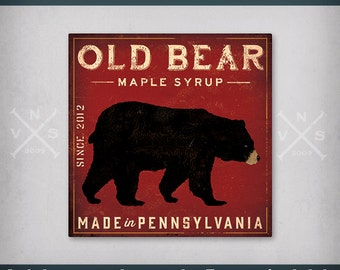 FREE Personalized Text - OLD Black BEAR Maple Syrup Sign Graphic Illustration Stretched Canvas Wall Art signed