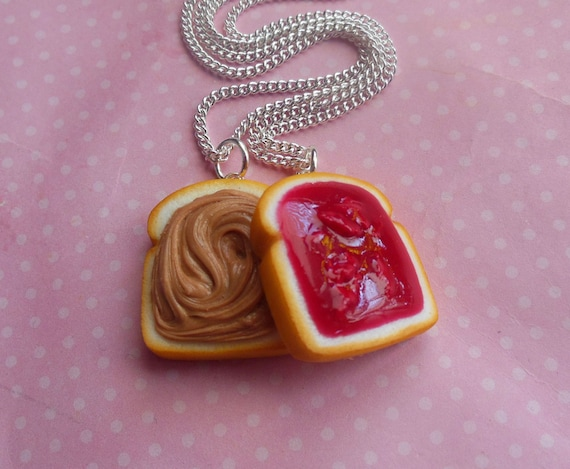 strawberry jam peanut butter and jelly best friend necklaces, bff, polymer clay, pb and j, miniature food, food jewelry
