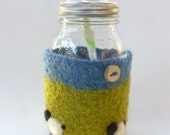 Felted wool mason jar cozy set green blue sheep design and wood button quart size