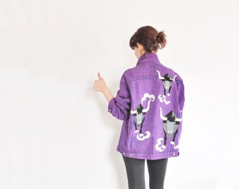 running of the bulls jean jacket . royal purple denim and metallic leather .extra large.xl .sale
