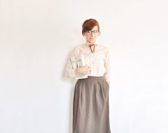 high waist brown pure wool skirt . classic secretary pencil skirt .small .sale s a l e