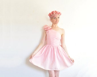 pink BOW party dress . 1980 one shoulder mini prom gown .extra small.x .sales