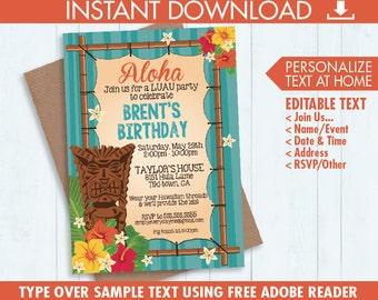 Luau Invitations - Hawaiian Party, Luau Birthday, Luau Shower - Orange & Yellow - Editable Text - Instant Download PDF Printable Kit