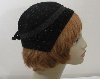 Vintage Black Beaded Flapper Style Hat