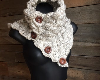 Chunky Knit Cowl, Chunky Button Scarf, Cable Cowl Scarf, Braided Knit Neckwarmer, Circle Scarf, Cozy Knit Scarf, White Cowl, Gift Idea Women