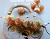 NEW EARTHY Nuggets . Czech English Cut Glass Beads (10 beads) 8 mm