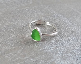 Lime green sterling silver sea glass ring - adjustable size