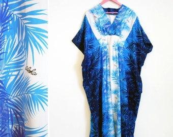 Vintage 1970s Aloha Blue Tropical Mu Mu/ Caftan/ House Dress/ Maxi Dress