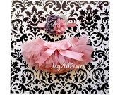 SALE Baby Girl 2 piece SET-Chiffon Tutu BLOOMER and Headband.Vintage Pink,Baby Girl headband,Newborn tutu,baby tutu,Photo Prop,cake smash