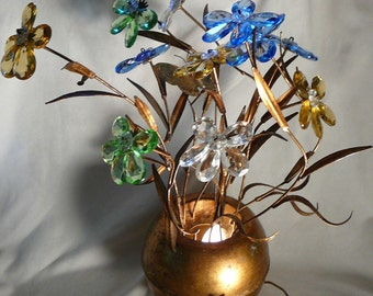 Hollywood Regency Glass Flowers in Pot Lamp Italy