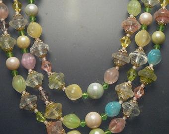 Three Strand Pink & Pastel Glass Bead Necklace Vintage