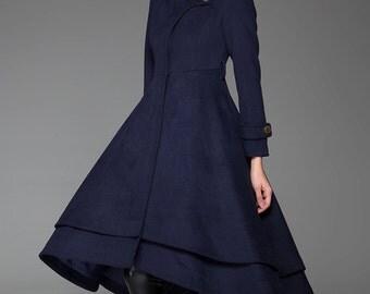 Navy Blue Coat,dress coat, Wool coat,Long coat, Womens coat, Coat with Asymmetrical Flirty Hemline Zipper Closure and Stand-Up Collar (1423)