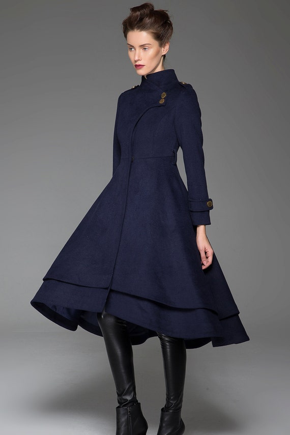 Navy blue coat stand up collar long coat womens coats cute