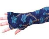 Dark Royal Blue Arm Warmers, Fingerless Gloves,  Wrist Warmers, Wool Fingerless Mittens, Wool Fingerless Gloves, Gauntlets