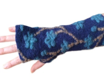 Dark Royal Blue Arm Warmers, Fingerless Gloves,  Wrist Warmers, Wool Fingerless Mittens, Wool Fingerless Gloves, Gauntlets