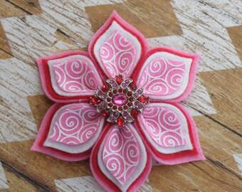 "4"" Valentine Bow, Valentine Clippie, Red and Pink Flower, Pink Flower Clip, Red Flower clip, Red Flower bow, Red Clippie"