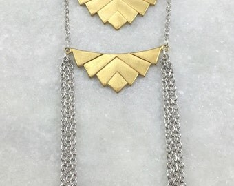 Silver & Brass Double Chevron Tassel Necklace | N31623