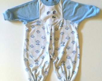 Vintage Baby 80's Baby Dior, Onesie, White, Blue, Long Sleeve (Newborn)