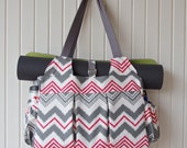The Foxglove Fitness Bag in Grey and Coral Chevron Canvas