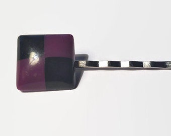 Black & Purple Checkers Bobby Pin Women Hair Clip Hair Accessories Hair Accessory Upcycled Barrette Hair Slide Gift For Her Vintage Jewelry