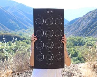 2017 Moon Calendar Silver on Black - Silkscreen Print
