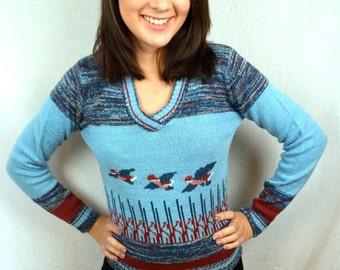 Vintage 80s Mallard Ducks 70s Knit Sweater - by IF