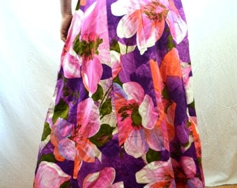 Vintage 60s Psychedelic Alice of California Barkcloth Purple Pink Maxi Skirt