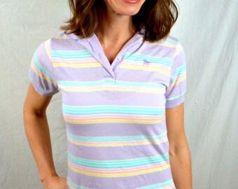 Vintage 1980s Striped Pastel Purple Lavender Rainbow Polo Shirt - By Silver Unicorn